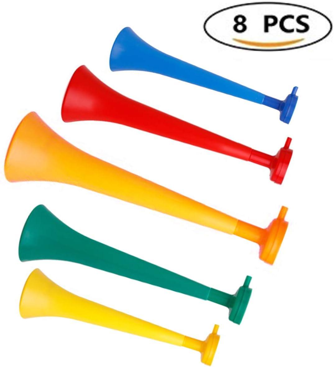 primetrade Juego 10 colores mezclados color Cuerno Azul, Rojo, Naranja, Amarillo, Verde de estadio con Snorkel, Vuvuzela de plástico (x10) para eventos: Amazon.es: Deportes y aire libre