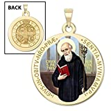 Saint Benedict Round Religious Medal Color 14K Yellow or White Gold, or Sterling Silver