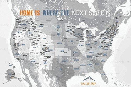 Amazon Com Ski Resorts Map Of Usa 20x30 Inches Mounted On Foam