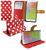 Emartbuy Premium PU Leather Wallet / Flip Case Cover Red / White Polka For Samsung Galaxy Alpha