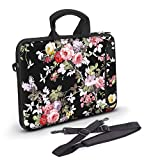 Anyshock Ultraportable Water-Resistant Neoprene Laptop Shoulder Bag Carrying Case Sleeve with Handle Extra Pocket Messenger Computer Bag Compatible 13-13.3 inch MacBook Air Pro, HP(Small-Peony