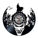 Vinyl Clock Reloj de Pared con Diseño de Batman, Diseño Creativo y Moderno de Vinilo Caliente, 30 cm de Diámetro, Color Negro, Ideal como Regalo de Navidad o de Halloween, Regalo para Hombres y Niños