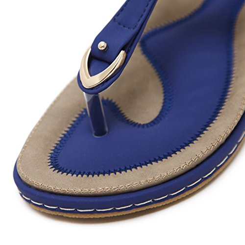 uBeauty Women's Bohemia Sandals Comfortable Leather Slippers Soft Non-Slip Thong Sandals Sexy Beautiful Summer Shoes Classic-blue 2UMiAB