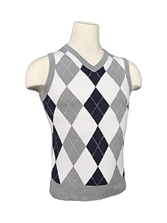 Amazon.com: Women's Argyle Golf Sweater Vest - Navy/White/Light ...
