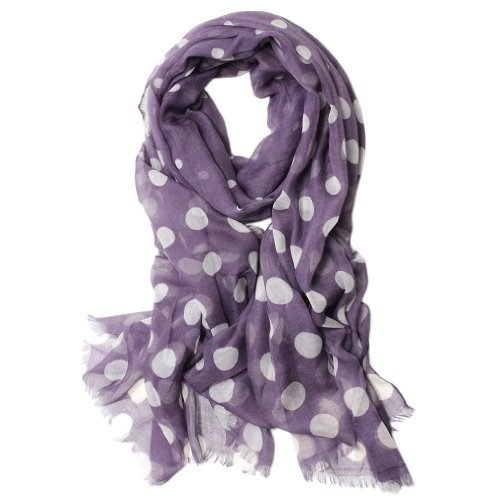 Scarfand's Large-mini Poka Dots Scarf (Purple) -