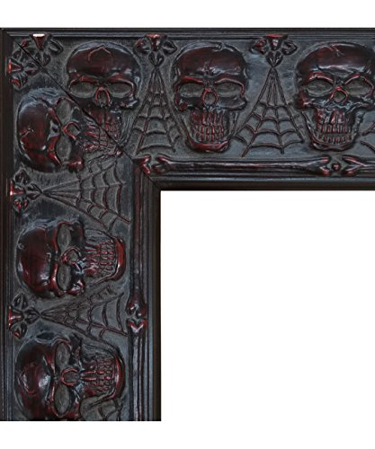 Embossed Skulls and Spiderwebs Goth Halloween Picture Frame (24x36 Inch)