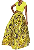 Makkrom Women's African Floral Print High Waist Maxi Skirt Casual A Line Skirt with Pockets (Large, Gold)