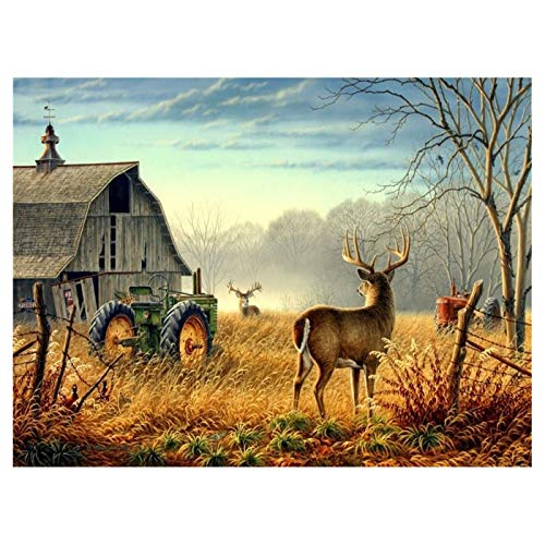 LIPHISFUN DIY 5D Diamond Painting by Number Kit for Adult, Full Round Resin Beads Drill Diamond Embroidery Dotz Kit Home Wall Decor,30x40cm,Farm Deer