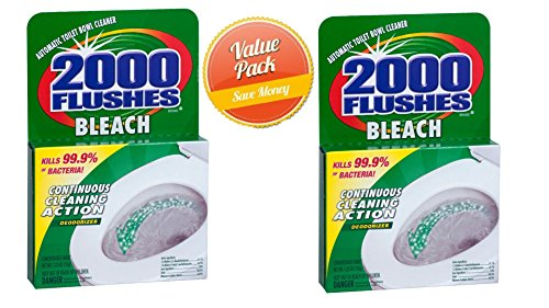 2000 Flushes 290074 Bleach Chlorine Antibacterial Automatic Toilet Bowl Cleaner, 1.25 oz (Pack of 2)