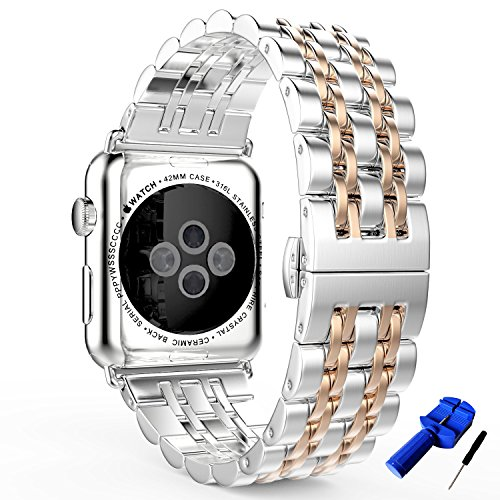 HUANLONG New Solid Stainless Steel Metal Replacement 7 Pointers Watchband Bracelet with Butterfly Clasp for Apple Watch Iwatch Series 1/2/3(LS 38mm ()