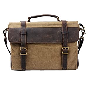 S-ZONE 14 inch Laptop Messenger Bag Vintage Canvas Genuine Leather Traveling Briefcase Shoulder Satchel