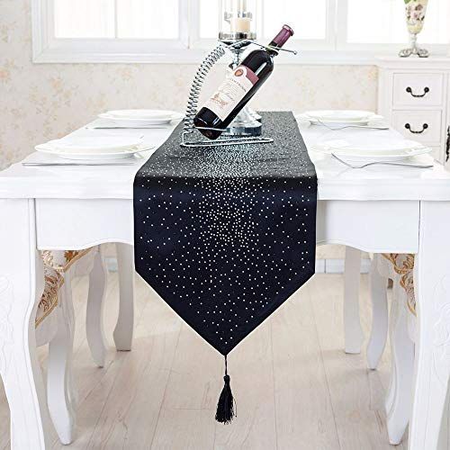DegGod Luxury Diamond Table Runner with Tassels, Modern Home Decorative Table Runners Sequin Damask Silk Tassel for Coffee Table Wedding Party Decoration (Black, 13.0x73 inches) ()