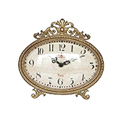 NIKKY HOME Pewter Vintage Table Clock 6.5 x 6,Antique Gold