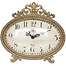 """NIKKY HOME Pewter Vintage Table Clock 6.5"""" x 6"""",Antique Gold"""