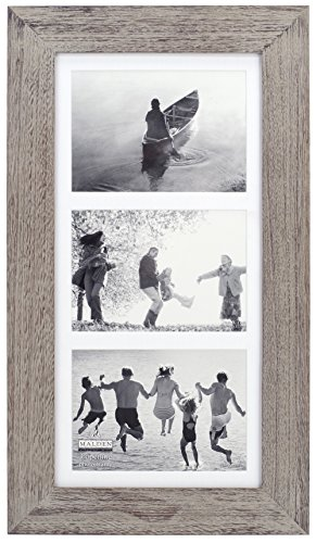 Malden International Designs Manhattan Distressed Mat Picture Frame, 3 Option, 3-5x7 , Gray - Holds three 5x7 pictures Use the numbering system to create a wall gallery Wipes clean - picture-frames, bedroom-decor, bedroom - 51g76hzhP8L -