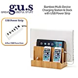 Great Useful Stuff Eco-Friendly Bamboo Multi-Device Charging Station with 4-Port USB Power Strip
