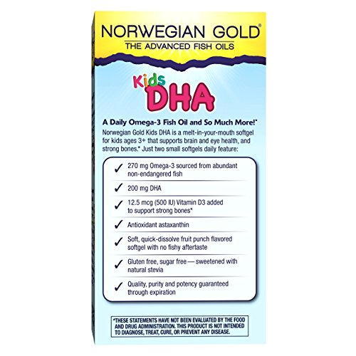 Norwegian Gold - Kids DHA Omega 3 supplement - 60 chewable fruit punch softgels - Renew Life brand by Renew Life (Image #8)