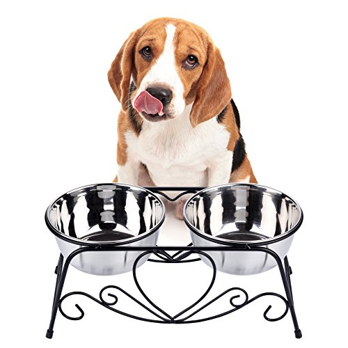 VIVIKO Pet Feeder for Dog Cat, Stainless Steel Food and Water Bowls with Iron Stand (Medium)