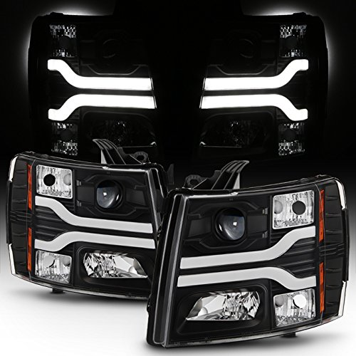 - For GMT900 Chevy Silverado Pickup Truck Dual LED Tube DRL Black Projector Headlights Pairs Lamps