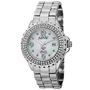August Steiner Women's Crystal Bezel Fashion Watch - White Mother of Pearl Diamond Dial with Big Number Hour Markers + Bonus Day of Week and Date Window on Silver Bracelet - AS8156