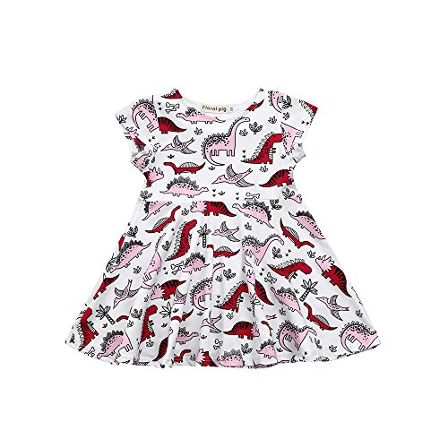 Wenjuan Cartoon Dinosaur Print Sun Dress Toddler Kids Baby Girls Clothes Outfits (5T) White ()