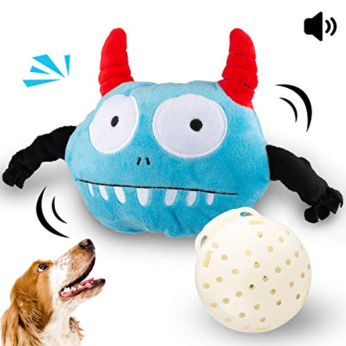 (Lmlly Dog Toys Interactive Giggle Plush Ball Electronic Shake Squeak Crazy Bouncer Toys Automatic Boredom Training Exercise for Dogs, Punny Motorized Entertainment for Pets)