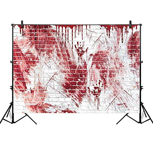 Allenjoy 7x5ft Bloody White Brick Wall Backdrop for Halloween Festival Flowing Blood Splatter Party Decor horrorible Blood drip Handprint Scratch Portrait Photography Background Photo Studio Booth -