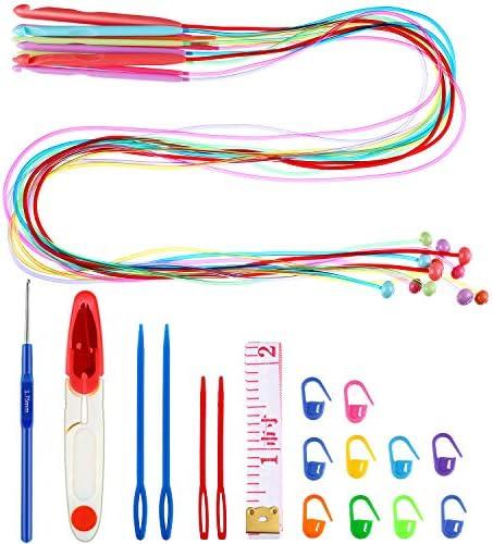 [해외]Tunisian Crochet Hook Set 12 Size Tunisian Plastic Cable Crochet Hook and 17 Pieces Crochet Hook Accessories for Craft Knitting / Tunisian Crochet Hook Set, 12 Size Tunisian Plastic Cable Crochet Hook and 17 Pieces Crochet Hook Acc...
