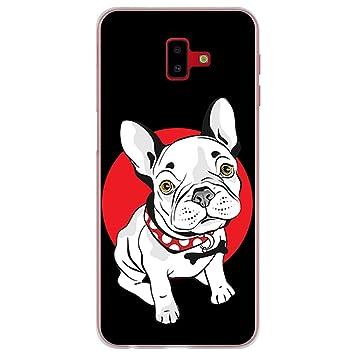 BJJ SHOP Funda Transparente para [ Samsung Galaxy J6 Plus 2018 ], Carcasa de Silicona Flexible TPU, diseño: Perro Bulldog Frances Blanco Cachorro