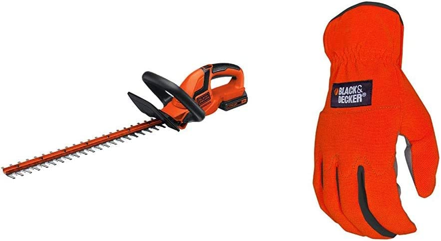 BLACK+DECKER 20V MAX Cordless Hedge Trimmer, 22-Inch with Easy-Fit All Purpose Glove (LHT2220 & BD505L)