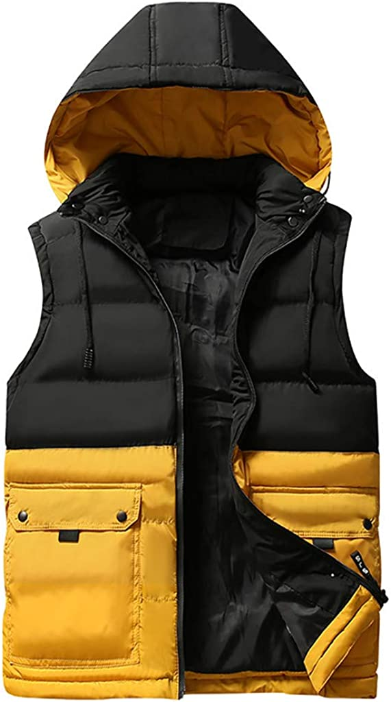 Gergeos Puffer Vest Mens Winter Warm Padded Vest Sleeveless Jacket with Removable Hood