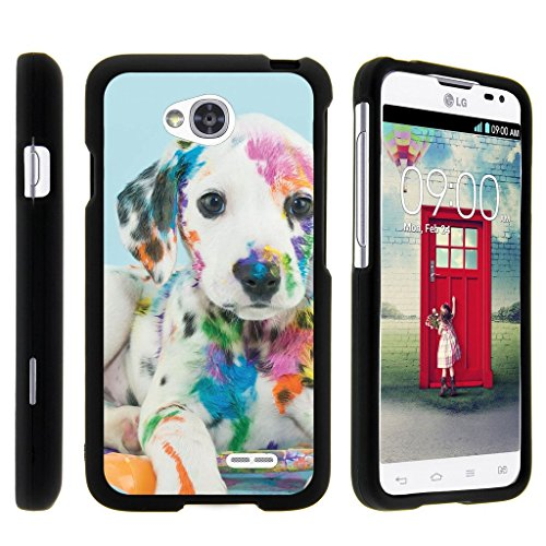 MINITURTLE Case Compatible w/ [LG Optimus L70 Case, Ultimate 2 Case, Optimus Exceed 2 Case][Snap Shell] Hard Plastic Slim Fitted Snap on case w/ Unique Designs Colorful Puppy (Lg L70 Optimus Phone Case)