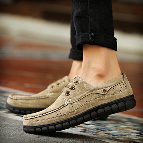 CHENGYANG Herren Business Freizeit PU Leder Schuhe Atmungsaktiv Sneakers Halbschuhe Khaki