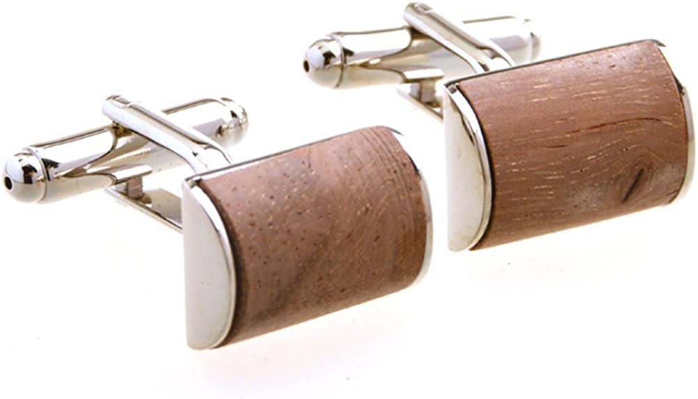 Covink Stainless Steel Red Wood Cufflinks Jupiter Cuff Men's French Shirt Semicircle Cuff Links