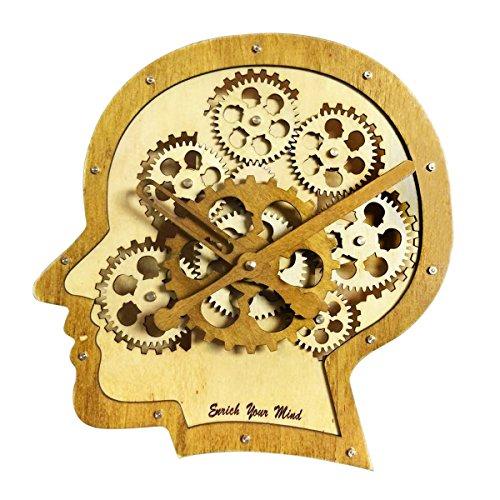 Kintrot Moving Gear Clock 3D Brain Model Retro Decorative Wooden Wall Clock