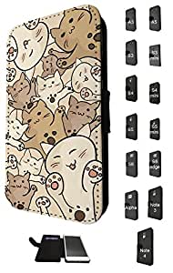 1183 - Fun Multi Cats Playfull Cute Cats Design Samsung Galaxy S5 Mini Fashion Trend TPU Leather Flip Case Full Case Flip Credit Card TPU Leather Purse Pouch Defender Stand Cover