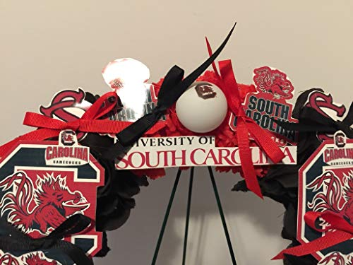 COLLEGE PRIDE - SPIRIT - USC - UNIVERSITY OF SOUTH CAROLINA - GAMECOCKS - COCKY - DORM DECOR - DORM ROOM - COLLECTOR WREATH - RED CARNATIONS AND BLACK ROSES by Peters Partners Design (Image #2)