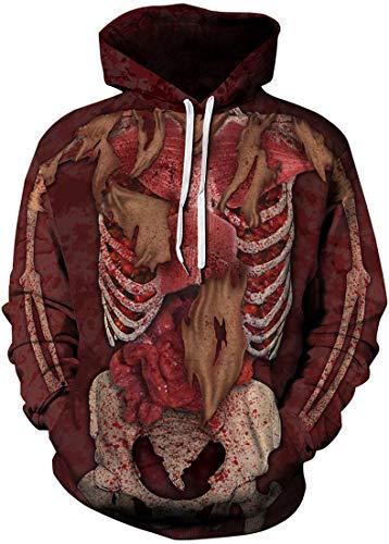 Men's Skeleton Halloween Hoodie Sweatshirt (Chaos World Men's Novelty Hoodie Halloween Realistic 3D Print Pullover Unisex Casual)