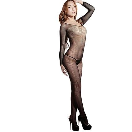 973f9e17d2 Sexy Women Bodystocking Open Crotch Fishnet Teddy Bodysuit Lingerie Set  (Free Size