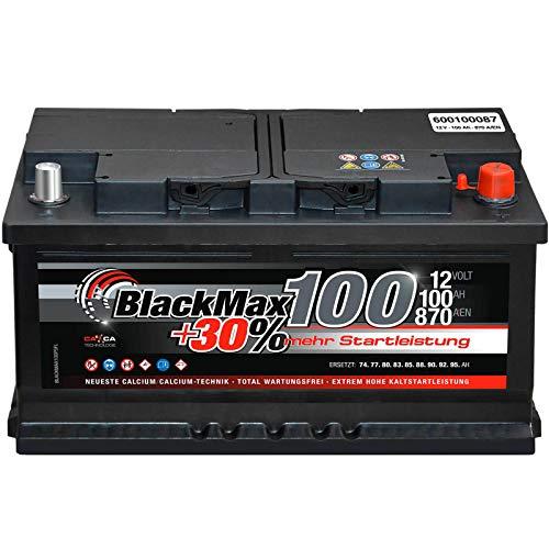 Autobatterie 12V 100Ah 850A/EN BlackMax Plus 30 ersetzt 85Ah 88Ah 92Ah 95Ah