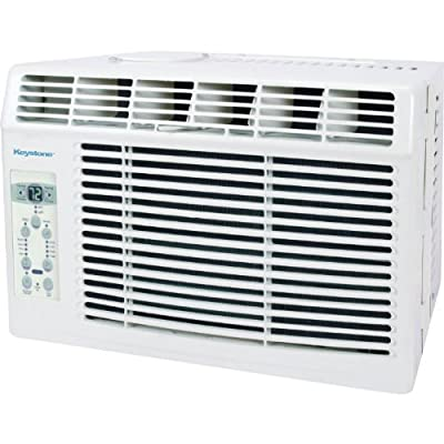 "Keystone 2014 Energy Star Rated Window Mounted 5,000 BTU Air Conditioner with Standard 115V Plug Features 3 Cooling & 3 Fan Speeds, with Electronic Controls with LED Display and Full Function ""Follow Me"" Remote, Sleep Mode, Auto Restart and 24 Hour Progra"