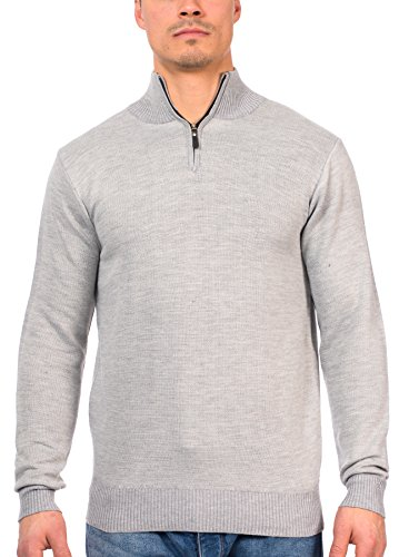 TR Fashion Men's Long Sleeve Soft Stretch Half-Zip Casual Pullover Sweater (Grey, X-Large) - Half Zip Wool Sweater