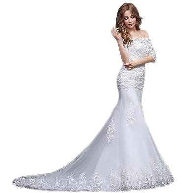 JJ GOGO Womens White Off Shoulder Half Sleeves Mermaid Lace Wedding Dress