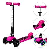 Banne 3 Wheel scooter Height Adjustable Foldable Assemble Free Smooth Riding Lean to Steer Kick Scooter With Flashing PU Wheel Supports 176 lb Weight(Rose Red)