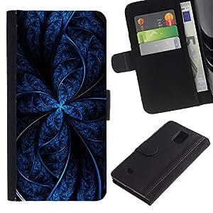UberTech / Samsung Galaxy Note 4 SM-N910 / Blue Black Fractal Night Star Lines Dark Pattern / Cuero PU Delgado caso Billetera cubierta Shell Armor Funda Case Cover Wallet Credit Card