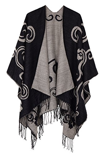 Urban CoCo Women's Printed Tassel Open front Poncho Cape Cardigan Wrap Shawl (Series 10-black)