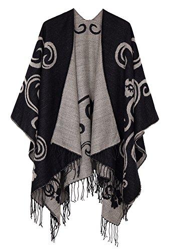 (Urban CoCo Women's Printed Tassel Open front Poncho Cape Cardigan Wrap Shawl (Series 10-black))