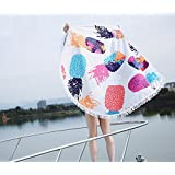 Round Roundie Indian Mandala Beach Towels Blanket Yoga Picnic Mat Thick Terry Cotton with Fringe Tassels (Colorful pineapple)