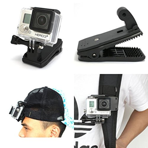 Fusion Hat Clip - QKOO 360 Degree Rotary Backpack Hat Clip Clamp Mount for GoPro Hero 7 (2018) 6 5 4 3+ 3 2 1 Black Silver Session Fusion, SJCAM, DJI Osmo Action, Xiaomi YI 4K, AKASO, DBPOWER, Campark Sports Camera