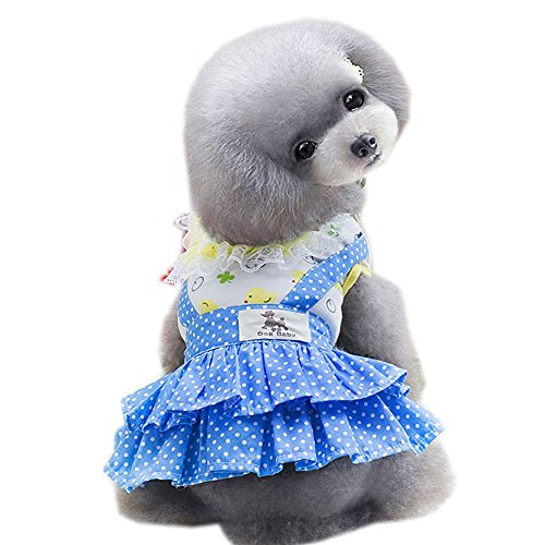 SYSTOND Dog Dress Spring Puggy Tutu Dress Summer Pet Dots Clothes Cat Cake Lace Princess Dresses Doggy Skirt Costume for Small Medium Large Dogs - Girl Dot Large